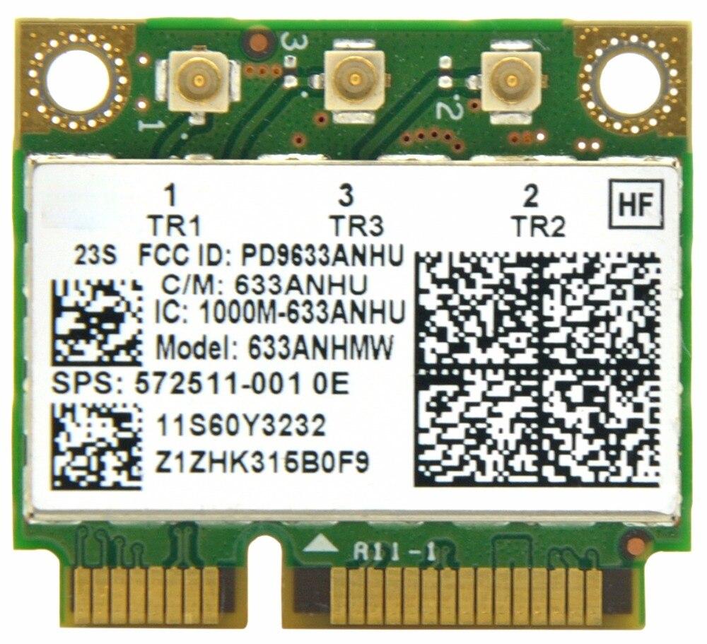 Cartão de memória ultrate-n 6300 633anhmw, meia tamanho mini pci e wifi 450mbps 802.11a/g/n cartão sem fio para intel 6300agn lenovo thinkpad/hp