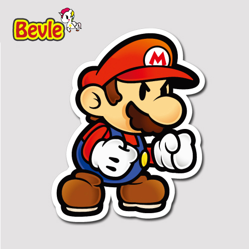 Bevle 1350 super mario 3m sticker waterproof laptop luggage fridge skateboard car graffiti cartoon tide sticker