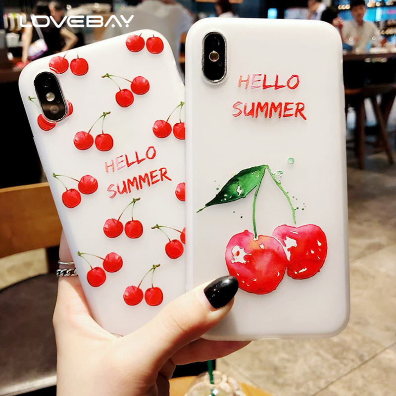 Lovebay Phone Case For iPhone X 8 7 6 6S Plus Cartoon Cherry Watermelon Lemon Pattern Soft TPU Silicone Cover Case For iPhone 8