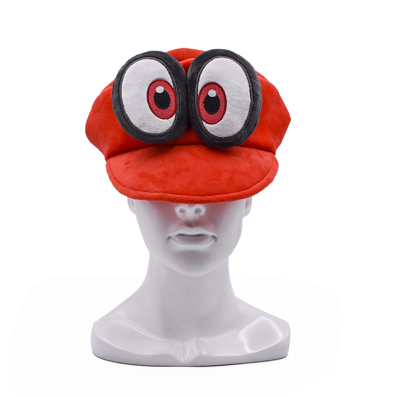 Anime Super Mario Cosplay Big Eye Odyssey Cappy Red Hat Mario Soft Wearable Baseball Caps Unisex Adjustable Cartoon Hats