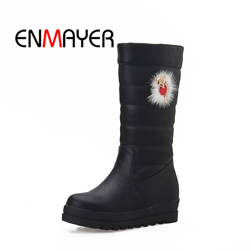 ENMAYER 2018 Ankle Strap Ladies Cool Woman Casual Shoes Black High Heel Fashion Square Heel Boots Size Short Plush 34-43 WHY125ENMAYER 2018 Ankle Strap Ladies Cool Woman Casual Shoes Black High Heel Fashion Square Heel Boots Size Short Plush 34-43 WHY125