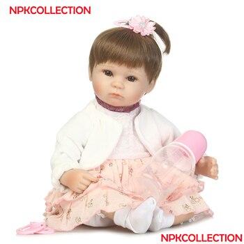 "NPK 40CM Soft Silicone Doll Reborn Baby 18"" Toy For Girls Newborn Girl Baby Birthday Gift For Child educational toys"