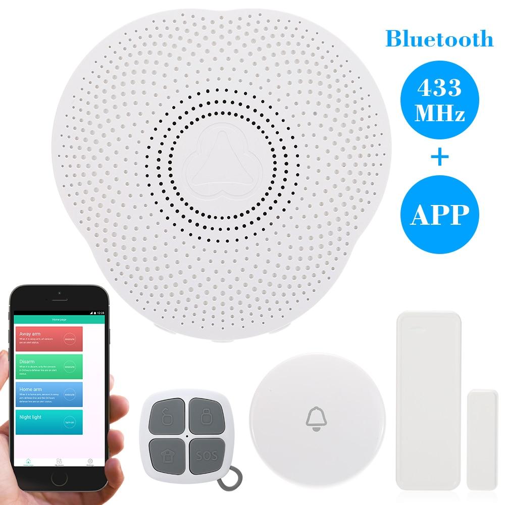 imágenes para 433 MHz Inteligente de Alarma Timbre Inalámbrico Bluetooth Android/IOS APP Control Del Teléfono Timbre Sensor de Alarma de Seguridad Antirrobo Systerm