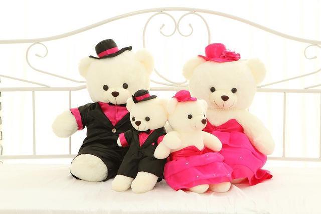 1 Pair 80cm Wedding Couples Plush Soft Toyu0026 Stuffed Animals Teddy Bear  Wedding Plush Toy Dress