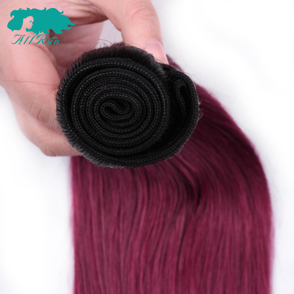 Allrun 100% Human Hair T1B/Dark Red Ombre Peruvian Straight Hair 3 Bundles With 4x4 Lace Closure Free Part Non-Remy