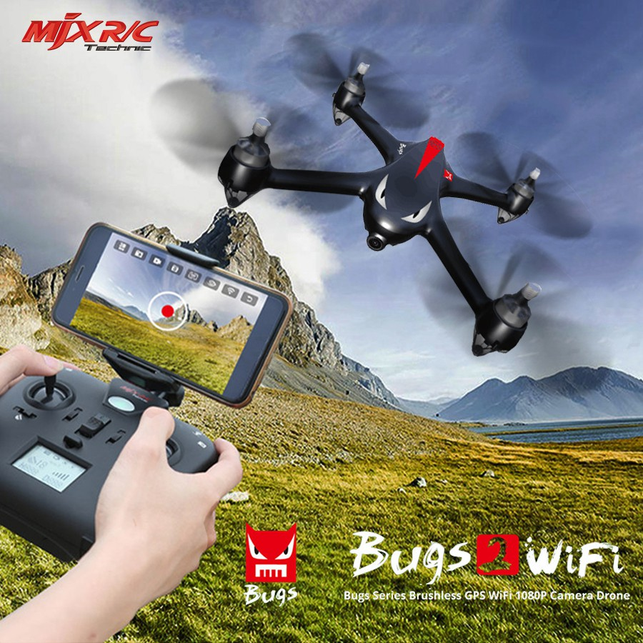 MJX B2W Bugs 2W Monster WiFi FPV Brushless 1080P HD Camera GPS Altitude Hold Black Red RC Drone Quadcopter RTF VS Hubsan H501S original mjx b2w bugs 2w monster outdoor toys rc drone brushless gps rc quadcopter rtf 1080p hd camera wifi fpv vs hubsan h501s