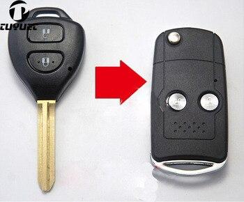 цена на Modified Blank Flip Remote Key Shell For Toyota Corolla RAV4 New Vios 2 Buttons FOB Keyless Case