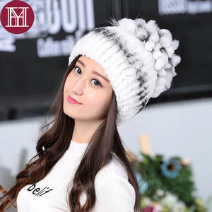 YH Winter hat for Women cap lady Real Beanies Warm female