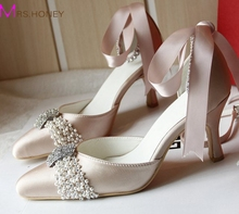 Size 34-43 Custom Made Elegant Bridal Wedding Shoes Champagne Middle Heel Pointed Toe Women Rhinestone Strap Bridesmaid Shoes