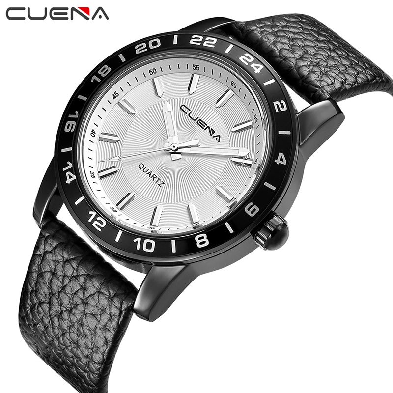 CUENA Men Fashion Clock Mens Watches Top Brand Luxury Genuine Leather Quartz Watch Waterproof Wristwatches Relogio Masculino Man men fashion quartz watch mans full steel sports watches top brand luxury cuena relogio masculino wristwatches 6801g clock