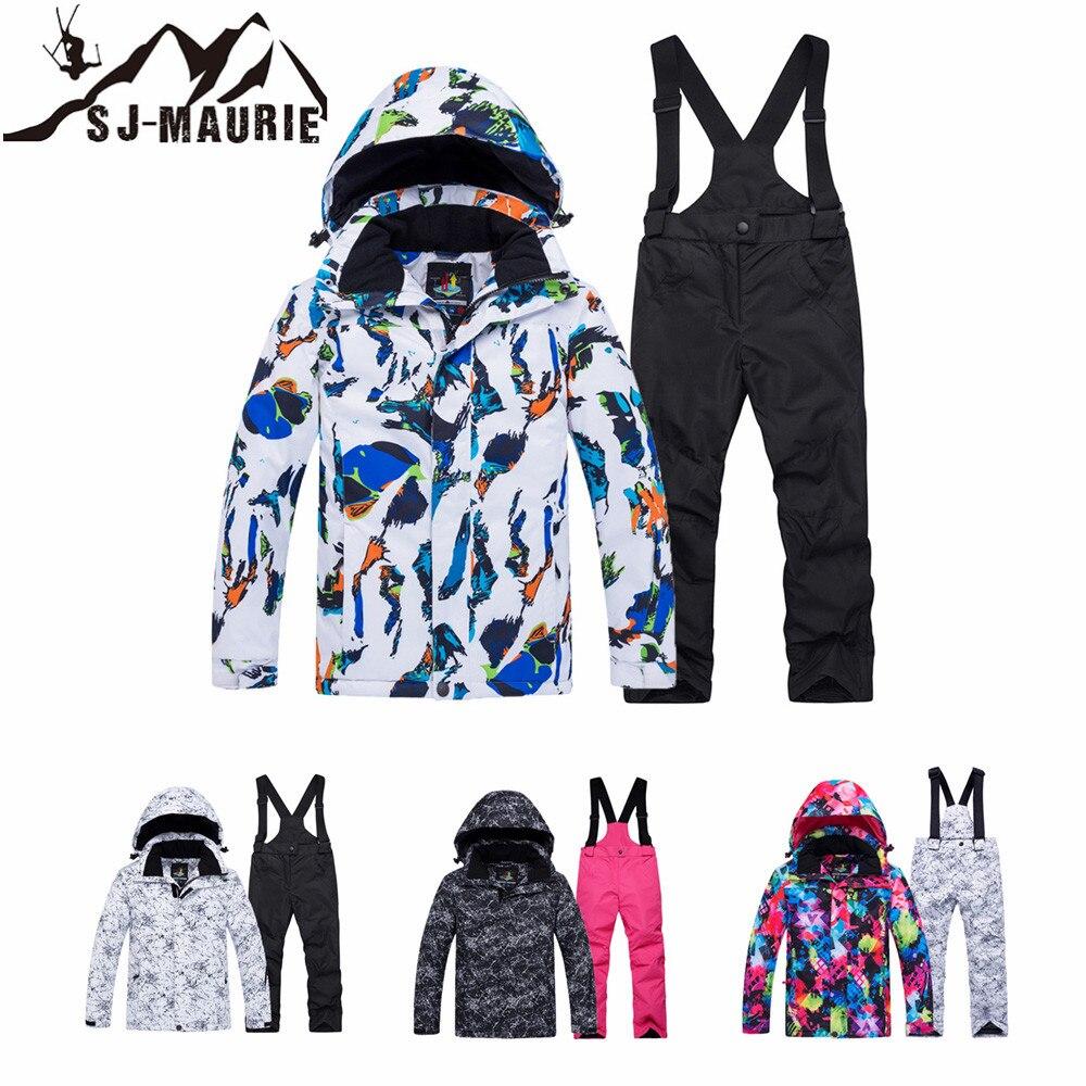 SJ Maurie Children Ski Suit Outdoor Winter Coat Windproof Waterproof Girls Boys Snow Pants Warm Child Winter Snowboard Suit
