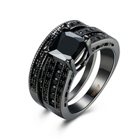 JEXXI Luxury Double Ring RGP Black Gold Rings For Women Cubic Zirconia Rings Romantic Bridal Wedding