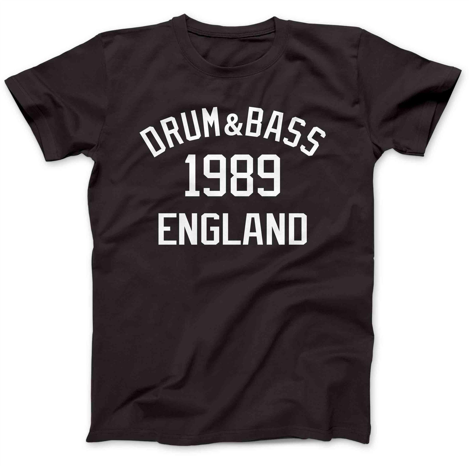 Стиль Винтаж Футболки для девочек Забавные короткий топ Барабаны и Bass Музыка 1989 Goldie Барабаны 'n' бас D & B О-образным вырезом мужские футболка