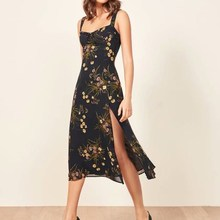 2019 Fashion Women Floral Print Chiffon Dresses Slim Split Midi Dress Black Spaghetti Straps Casual