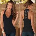 Moda Feminina Lady Verão Sólidos Sexy Halter Decote Em V Sem Mangas Lace Patchwork Voltar Vest Top Casual Partido Clubwear Preto/Apricot