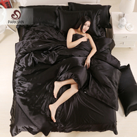 Parkshin Luxury Black Silk Satin Bedding Set Soft Duvet Cover Queen King Size Adult bed Linen Pillowcase Sheet Home Textiles