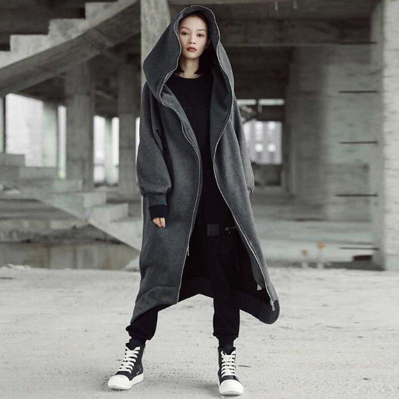 Jackets for Women Coat Hooded 2018 ZANZEA Long Sleeve Fleece Irregular Loose Jackets Veste Femme Pockets Solid Chaqueta Mujer