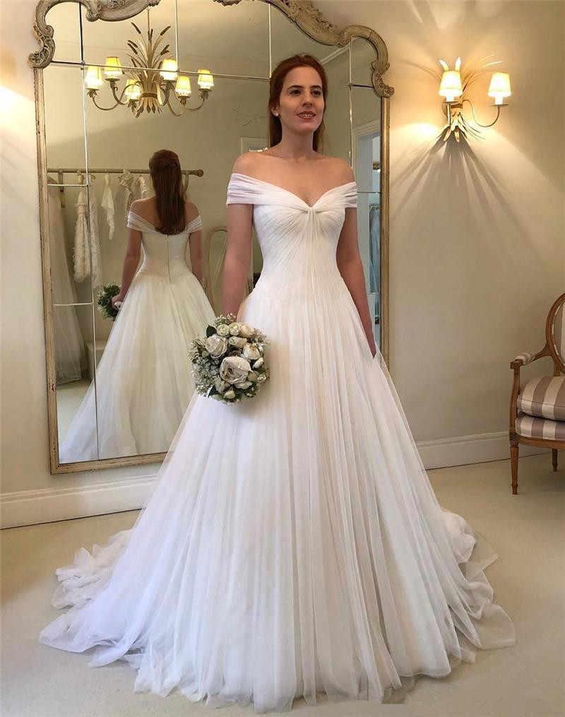 2019 Plus Size Beach Wedding Dresses A Line Off Shoulder Ruffles White  Tulle Country African Arabic Bridal Gown Vestido De Novia
