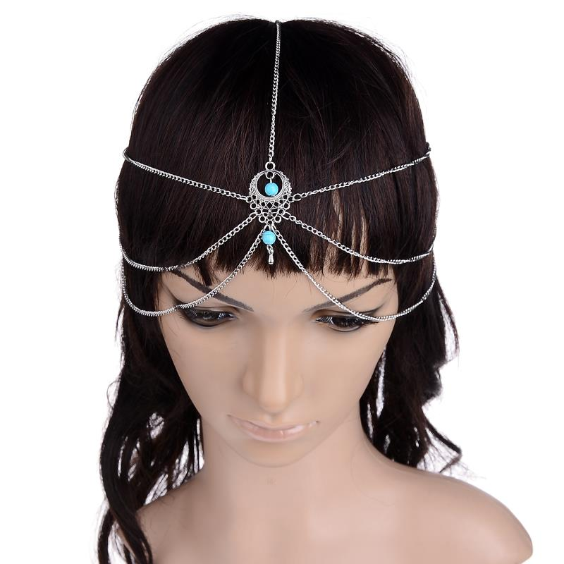Multi Layer Metal Silver Color Head Tassel Chain Natural Stone Pendant Bindi Boho Headband Hair Jewelry Accesories