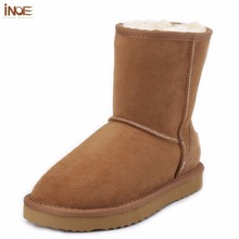 INOE sheepskin leather suede snow boots for women nature fur wool lined men winter shoes high quality brown 35-45 free shipping