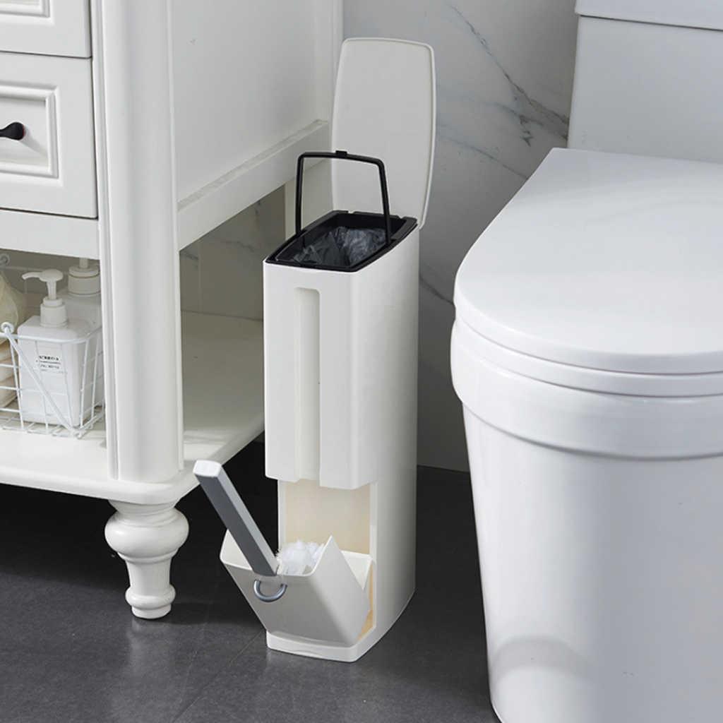 2019 Novo Conjunto com Escova de Vaso Sanitário Do Banheiro Resíduos Bin Lata De lixo de Plástico Latas de Lixo de Lixo Balde de Lixo Saco de Lixo Dispensador