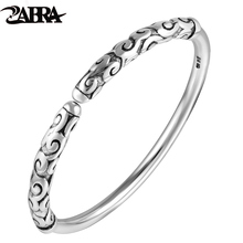 ZABRA Solid Thai Silver Vintage Bracelet For Men Chinese Movie Monkey King Relief Golden Cudgel Men 999 Sterling Silver Jewelry