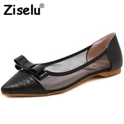 Ziselu 2017 new hollow breathable mesh women s flats bow pointed toe slip on shallow flats.jpg 250x250