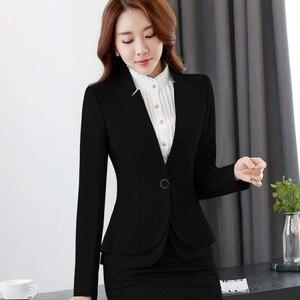 Image 5 - NAVIU Elegante e alla Moda Delle Donne Giacche Autunno Temperamento Manica Lunga Nero Grigio Giacca Ufficio Delle Signore Più Il Formato di Usura del Lavoro cappotto