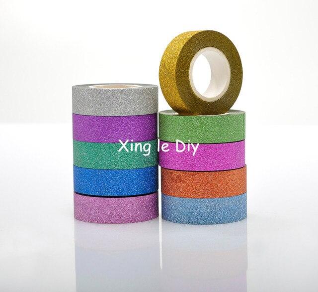 Satış 10 ADET 15mm 10 m Mix renkler Origami El Yapımı kağıt DIY okul Washi Bant Kitap Dekorasyon DIY yapışkanlı kağıt Karalama Defteri