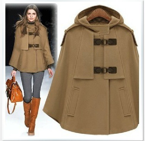 d4b38666ef26e 2019 Autumn Winter Women Cashmere Blends Poncho Coat Fashion Wool Jacket  Female Cape Cloak Woolen Coats Hooded Outwear-in Basic Jackets from Women s  ...