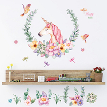 cartoon unicorn petal birds large wall stickers animal home decor living room bedroom art decals wallpaper