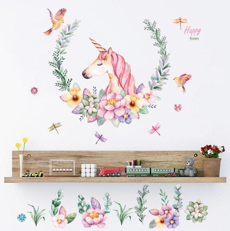 cartoon unicorn petal birds large wall stickers animal home decor living room bedroom art decals wallpaper