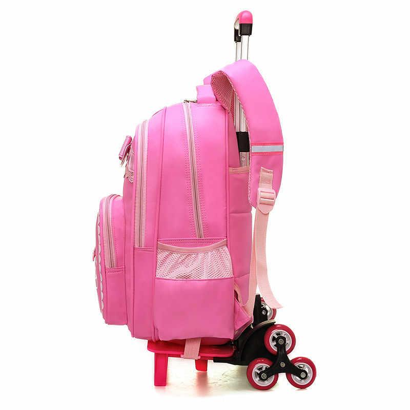2/6 ruedas de los niños de la Escuela para niñas carro mochila caja de cartón patrón equipaje rodante niños desmontable ortopédicos y bolsa