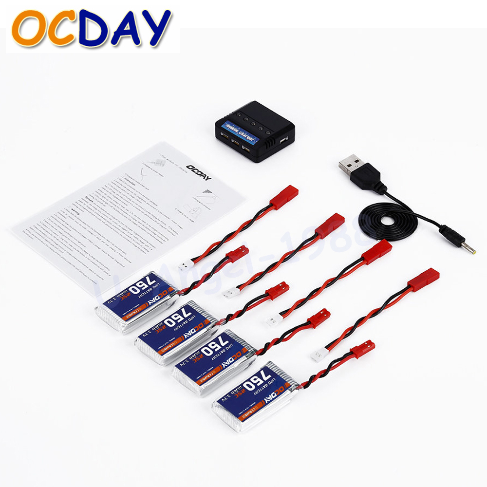 OCDAY 4pcs 3.7V 750MAH 25C 1S1P 2.78WH Battery + X4 Charger for MJX X400 X500 X800 X300C