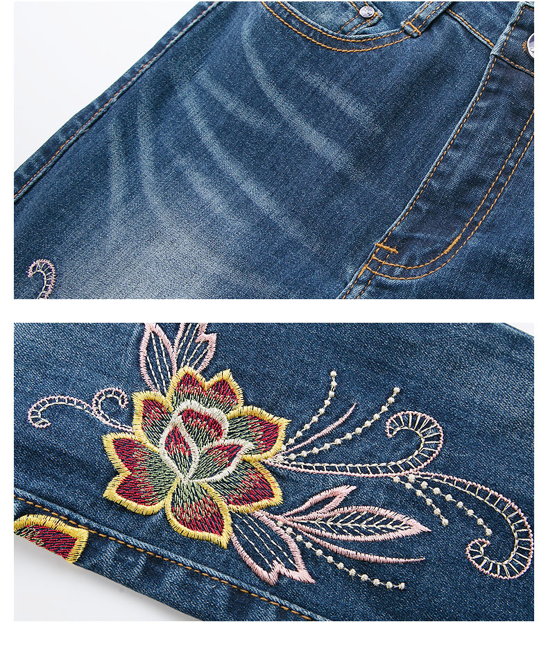 KSTUN FERZIGE Jeans Women High Waisted Pencils Pants Skinny Slim Fit Stretch Light Blue Embroidery Flowers Washed Femme Large Size 36 24