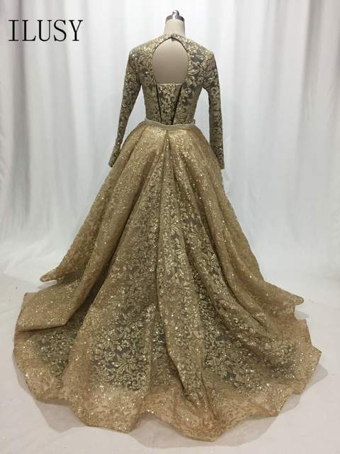 ILUSY Yousef Aljasmi Black With Gold Evening Dresses O-Neck A Line Formal  Evening Gowns With Overskirt Customize robe de soire