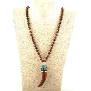 MOODPC модные богемные этнические ювелирные изделия коричневые камни длинный завязанный коричневый кулон в виде бычьего рога ожерелья женско...