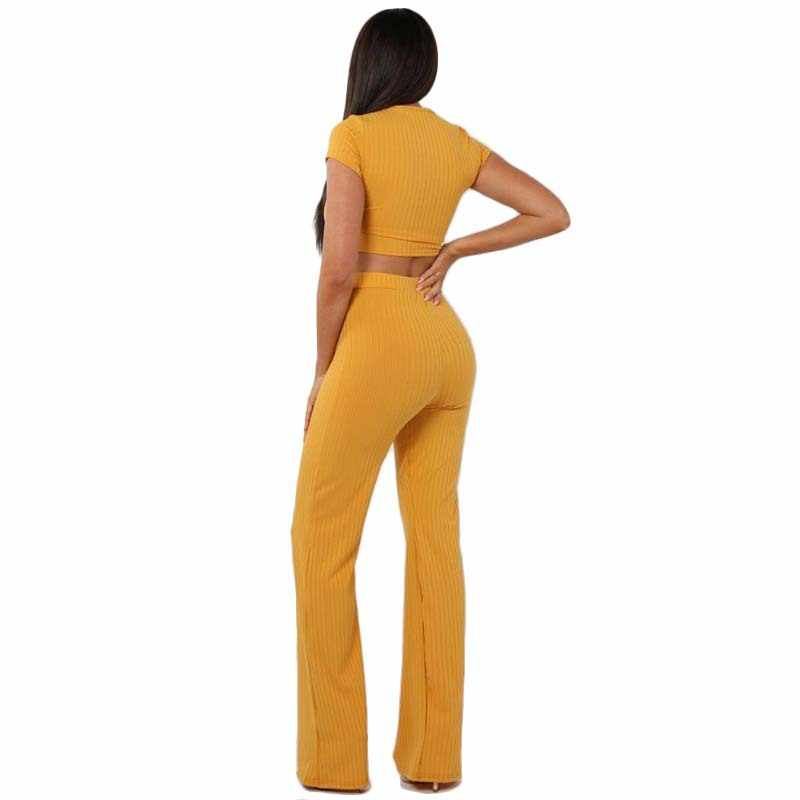 9a270ca111c ... Women knitted long sleeve o-neck crop top wide leg pants 2 piece set  for ...
