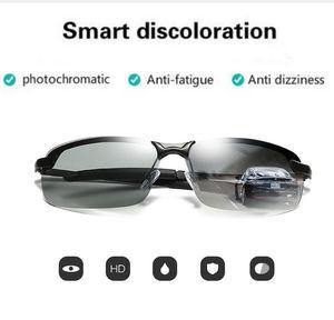 Image 2 - Fotokromik polarize güneş gözlüğü erkekler için klasik sürücü güneş gözlüğü gözlük Vintage gözlük balıkçılık Discolor Lens UV400