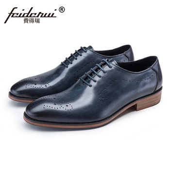 New Breathable Man Handmade Party Shoes Genuine Leather Carved Wedding Oxfords Luxury Round Toe Men's Brogue Footwear JS43 фото