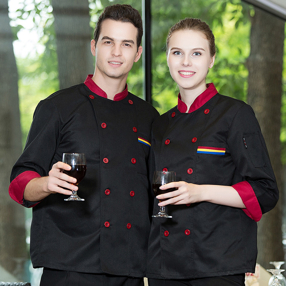 High Quality 5-colors Long-sleeve Chef Jacket Autumn & Winter Hotel Restaurant Kitchen Man And Woman Work Wear Uniform