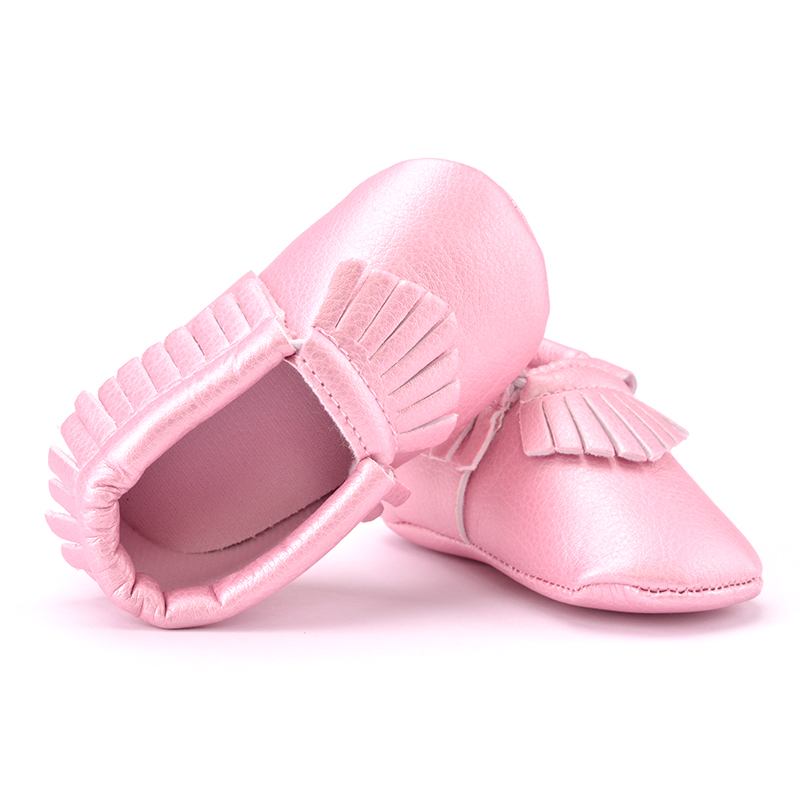 qloblo PU Leather Newborn Boy Girl Baby Shoes Moccasins Tassels Non Slip Soft Soled Anti-slip First Walkers Crib Shoes