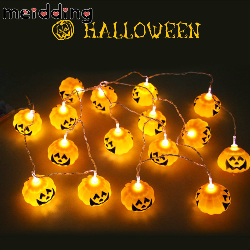 meidding 16pcs 3m pumpkin string lamp halloween night party decor fairy lighting battery operated lamps theme - Halloween Night Party