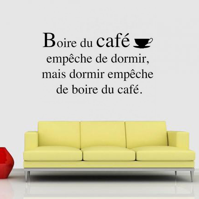 Stickers French Citation Boire du cafe Vinyl Wall Mural Wallpaper ...