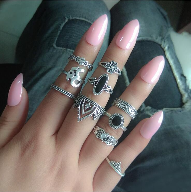 7 PCS/Set Big Stone Vintage Crown Midi Ring Set For Women Antique Silver Yin Yang Lotus Knuckle Rings Boho Jewelry Anillos
