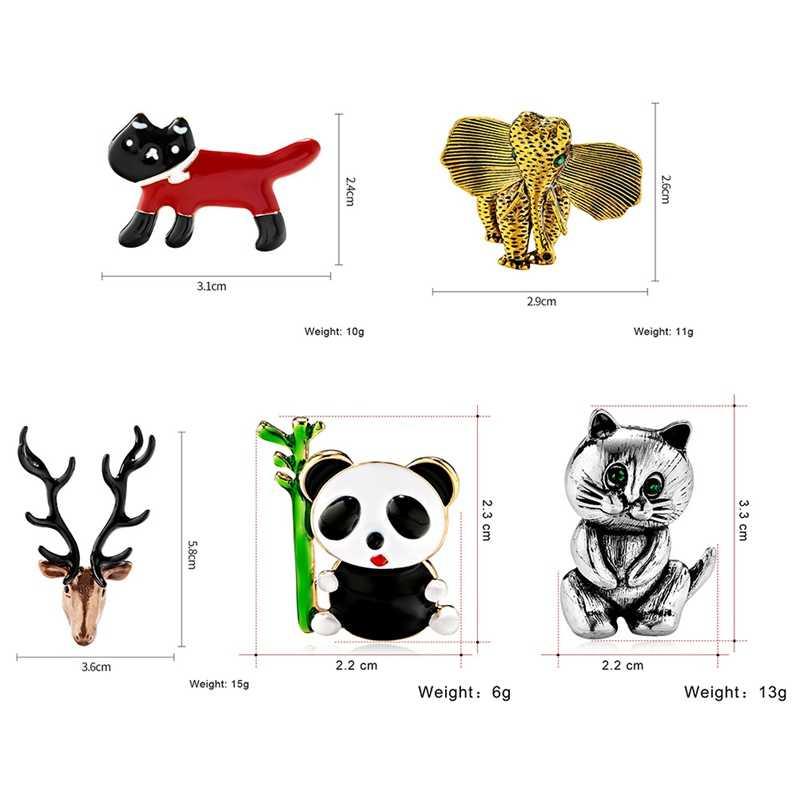 Kartun Lucu Bros Kelinci Kucing Ikan Tulang Rusa Enamel Pin Jaket Kerah Pin Ransel Bros untuk Wanita Anak Perhiasan