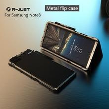 Note8 9 à prova de choque r apenas 360 proteção completa luxo satnless aço flip cases matel escudo do telefone para samsung galaxy note 8 note9