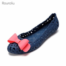 Rouroliu Women Non-Slip Hollow Out Beach Hole Shoes Flat Platform Slip-On Shoes Female Summer Bowknot Sandals Woman FR47