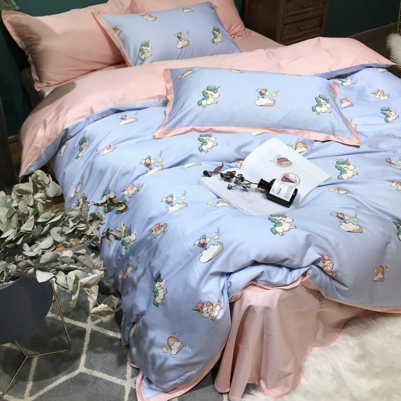 60S Egypt cotton White blue Unicorn Bedding set 4PCS KING QUEEN SIZE tribute silk home Bed set Cotton bed linen bedsheet set60S Egypt cotton White blue Unicorn Bedding set 4PCS KING QUEEN SIZE tribute silk home Bed set Cotton bed linen bedsheet set