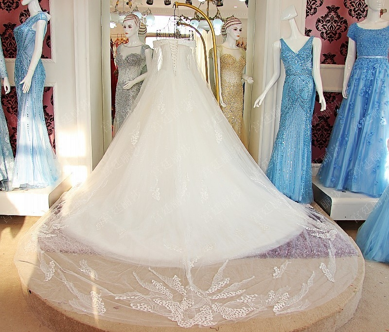 Image 5 - 2019 Luxury Crystal Dubai Kaftan Wedding Dresses Sexy V neck robe de mariage Long Sleeve Arabic Muslim Wedding DressesWedding Dresses   -